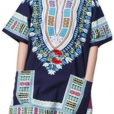 African Dashiki Print Navy Blue Shirt