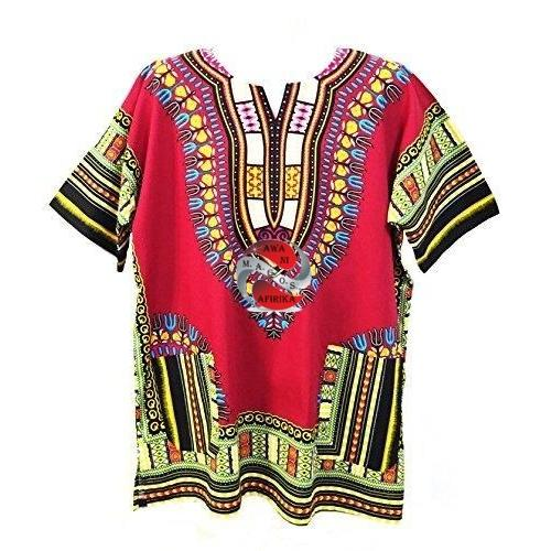 Burgundy African Dashiki Shirt (5X-Large) - Popular African and Designer Brands Goods