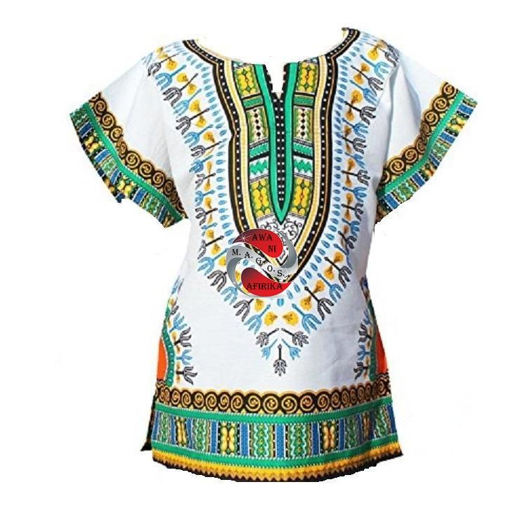 Children's Green & White African Dashiki Print Shirt (6-8yrs) - Popular African and Designer Brands Goods