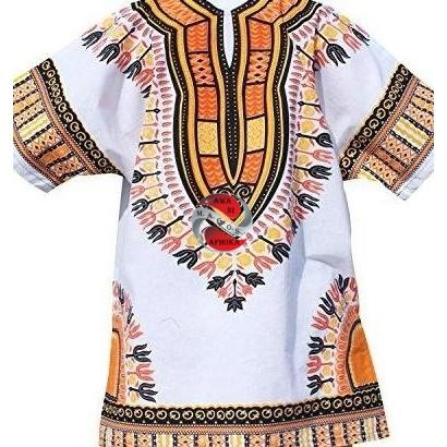 African Dashiki Print White/Yellow Shirt