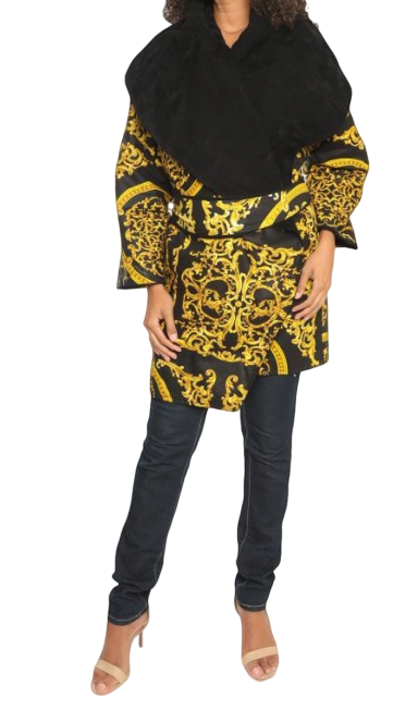 African Print Reversible Belted Faux Suede Jacket