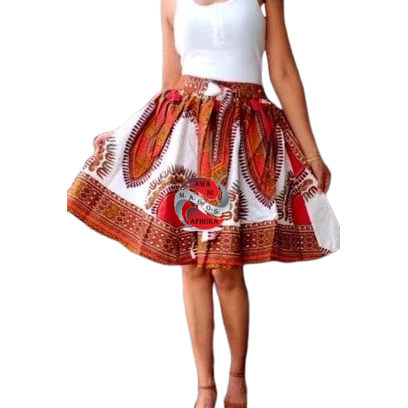 Short White Traditional Print Dashiki Skirt