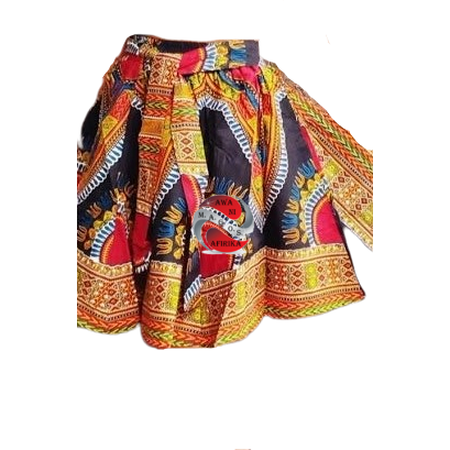Short Black Traditional Print Dashiki Skirt