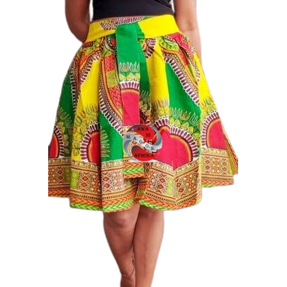 Short Green Traditional Print Dashiki Skirt
