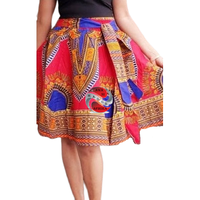 Short Red Traditional Print Dashiki Skirt