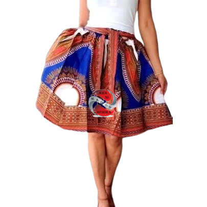 Short Blue Traditional Print Dashiki Skirt
