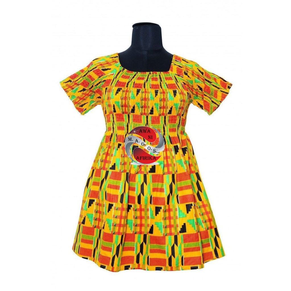 African Print Yellow Kente 2 Style Dress Top