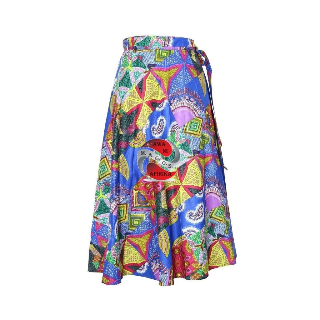 AFRICAN ASSORTED PRINT WRAP SKIRT