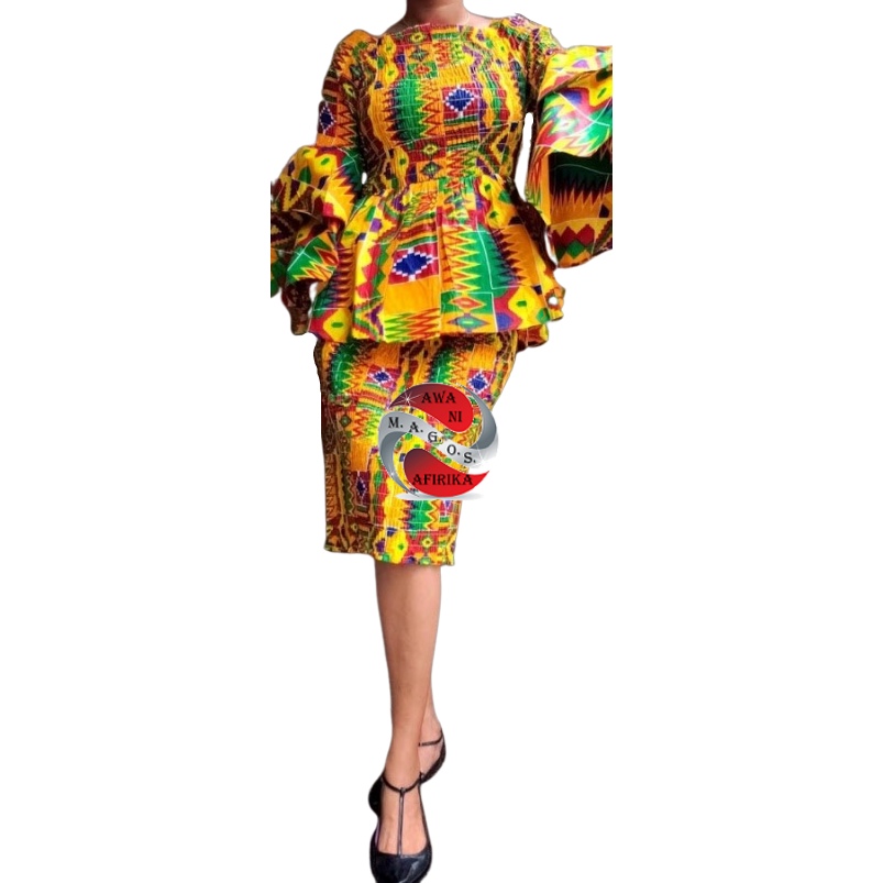 African Kente Print Mid Length Smocked Skirt Set
