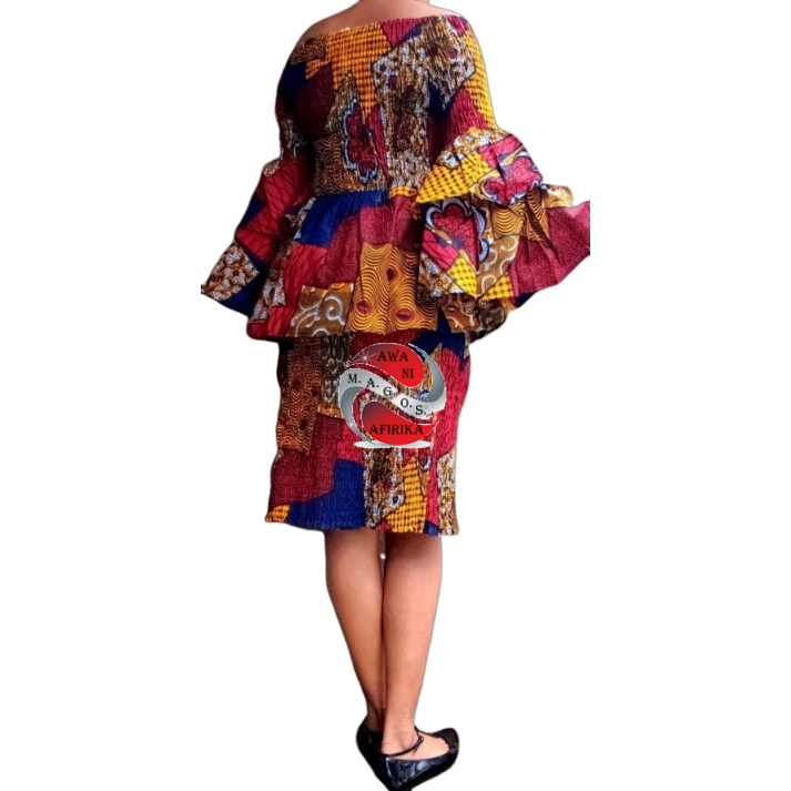 African Red Blue Print Mid Length Smocked Skirt Set