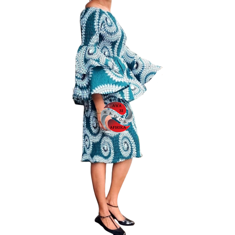 African Teal Print Mid Length Smocked Skirt Set