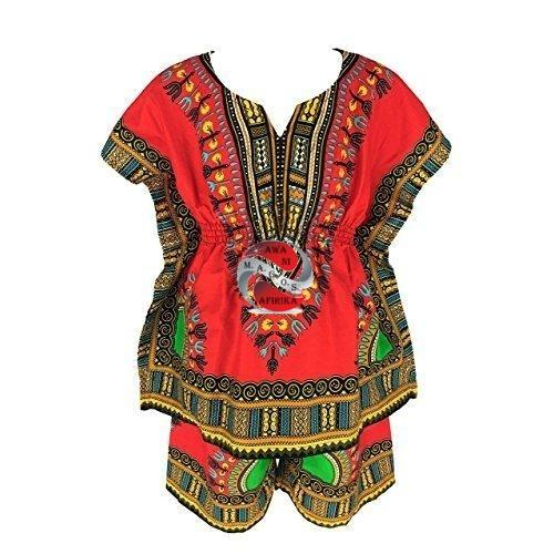 Handmade Girls Dashiki Short Set (Large) - Red | M.A.G.O.S. African traditional children's clothes, African inspired kids clothes, dashiki for children, little girl African print dress
