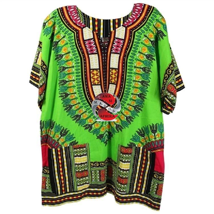 African Traditional Print Lime Green Dashiki (X-Small) - M.A.G.O.S.
