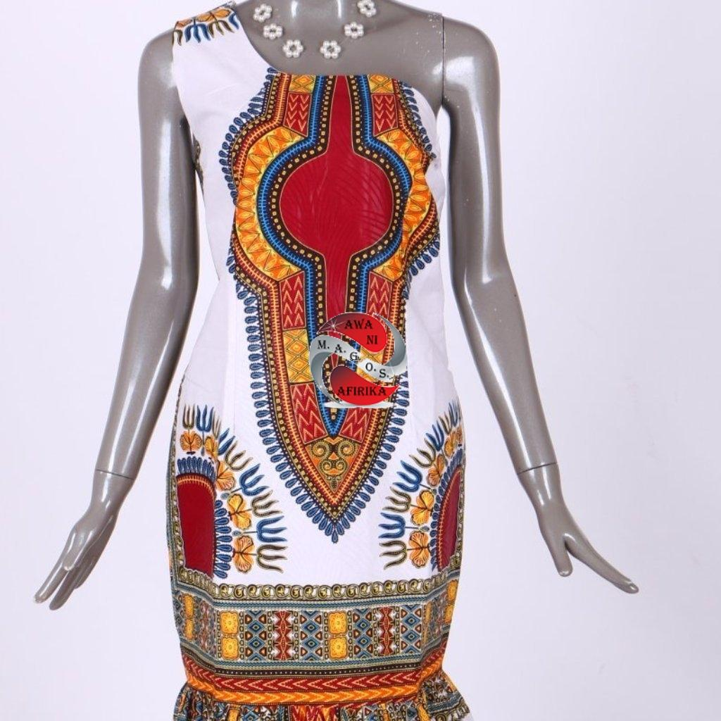 Women's African Dashiki Cotton Print Formal Mermaid Dress - | M.A.G.O.S. African print pants for ladies, African print shirts for ladies, African print mermaid dress