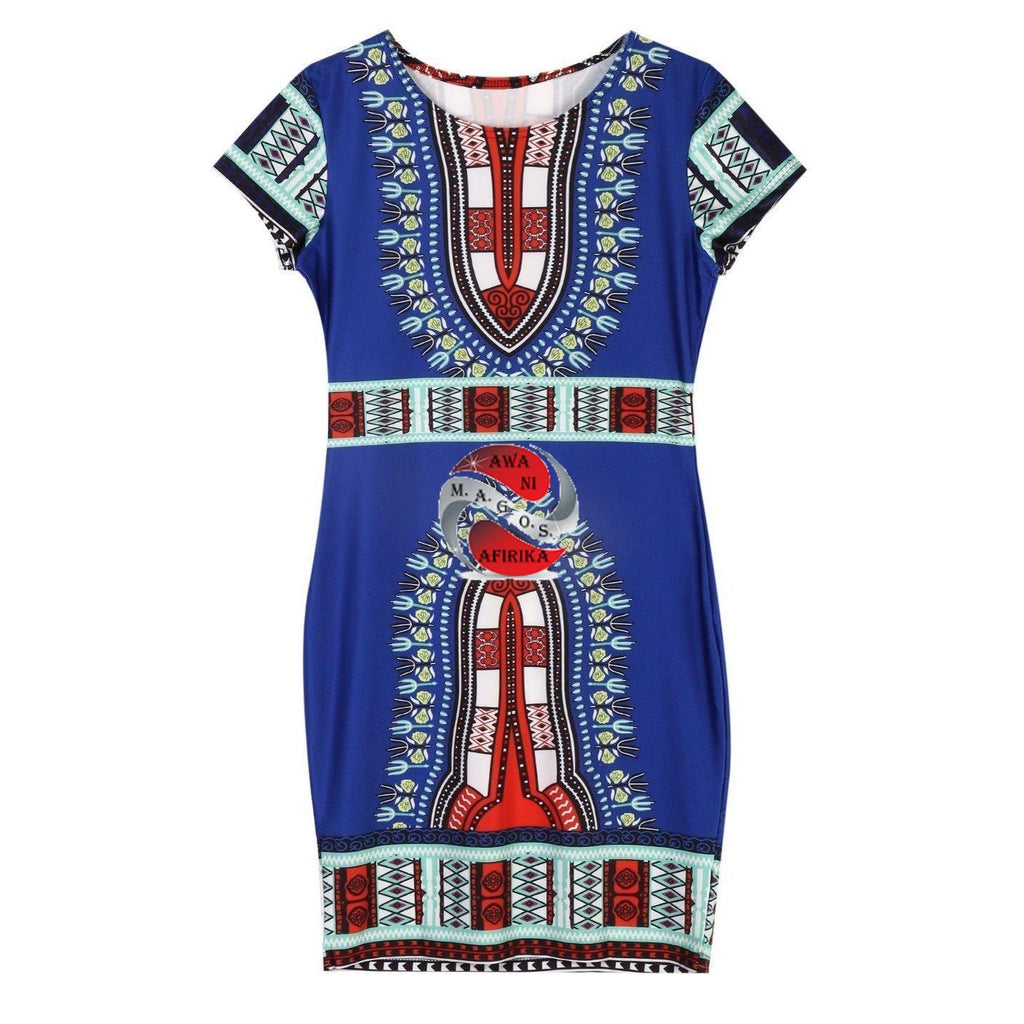 Traditional African Print Dashiki Bodycon Dress - | M.A.G.O.S. African print pants for ladies, African print shirts for ladies, African print mermaid dress