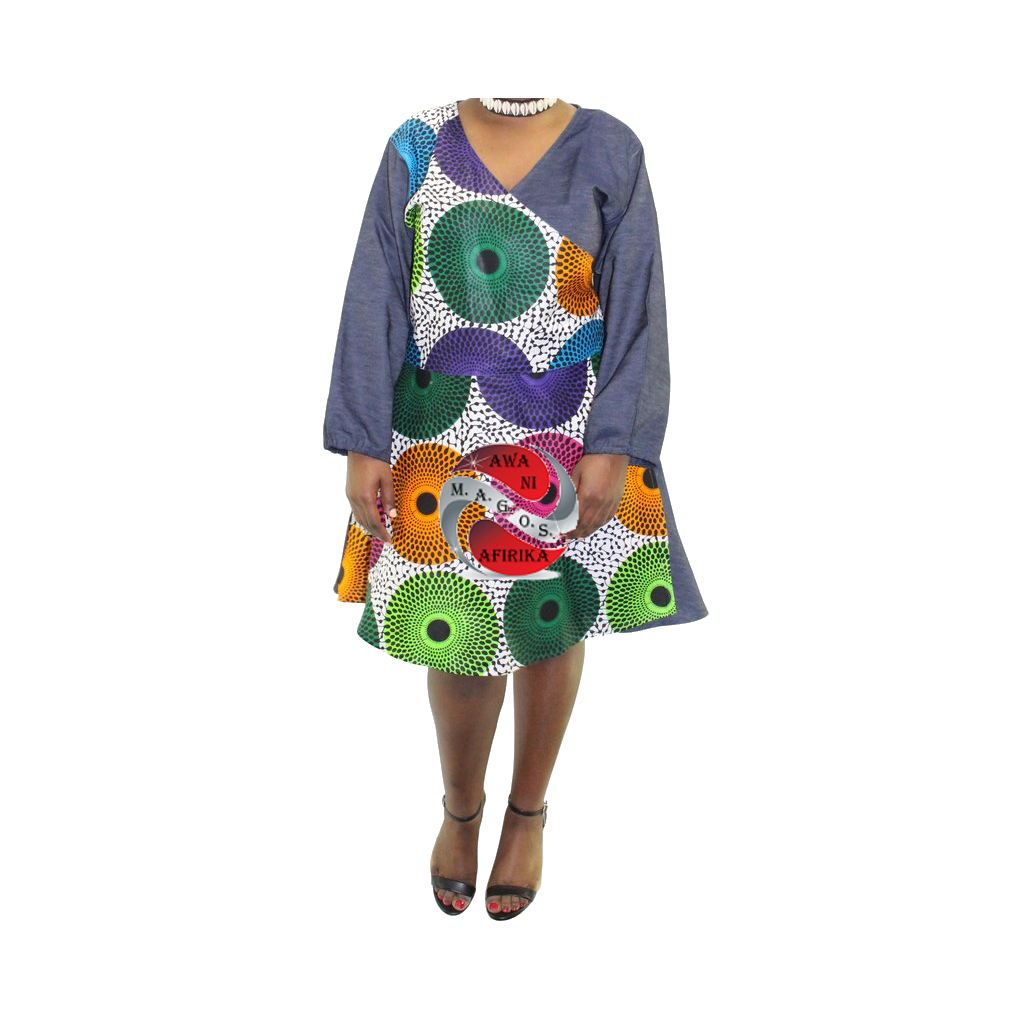 Women's Short Denim Multi-Circle African Print Wrap Dress