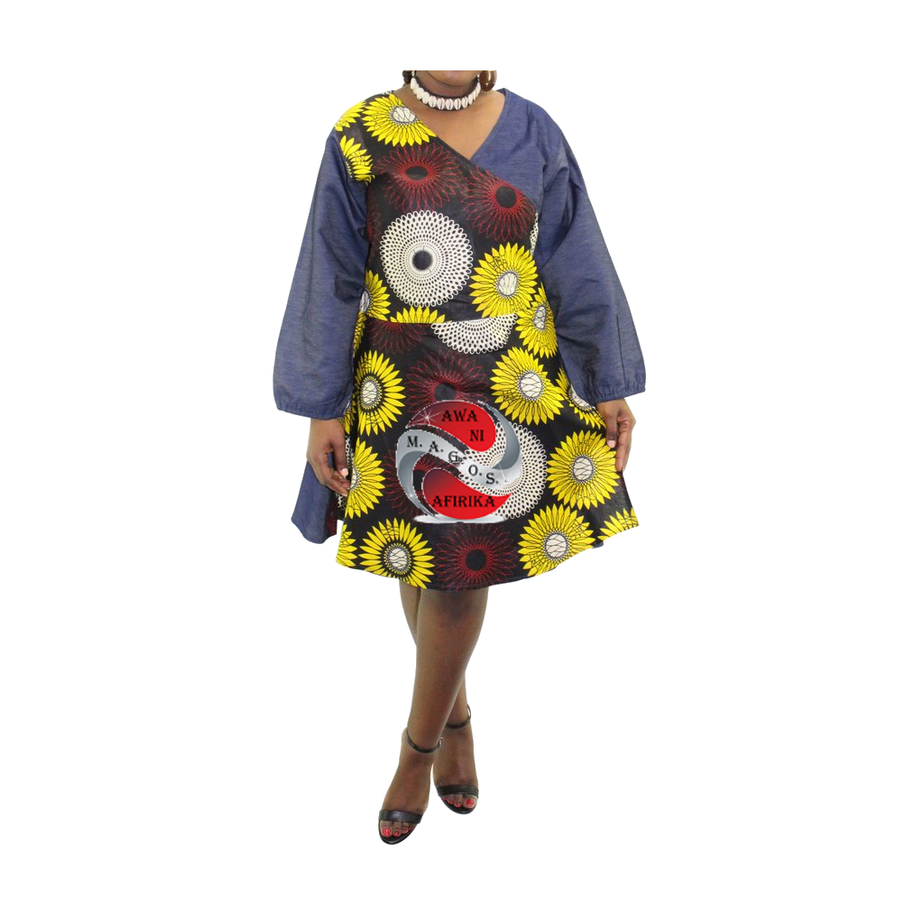 Women's Short Denim Burg-Circle African Print Wrap Dress