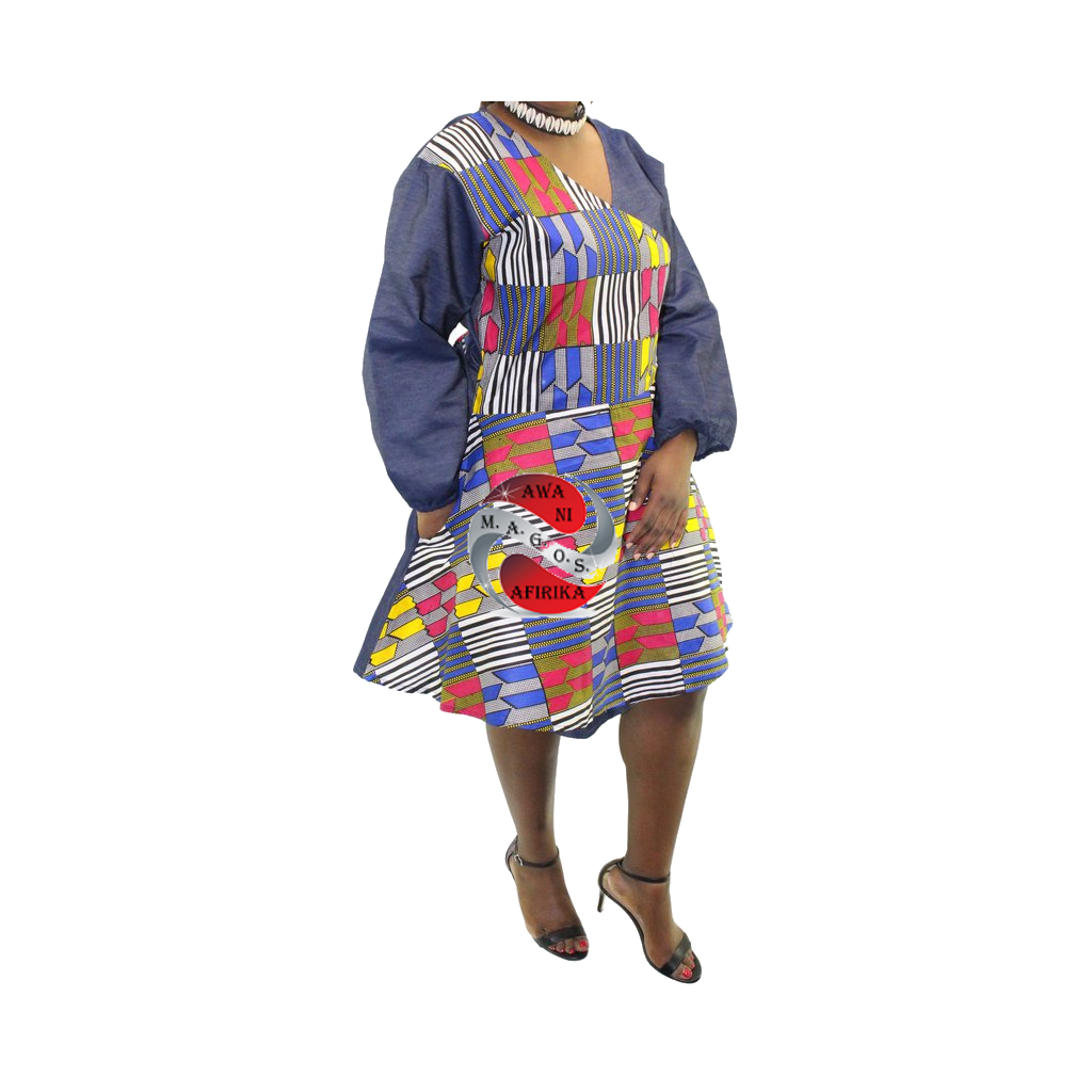 Women's Short Denim African Multi Print Wrap Dress