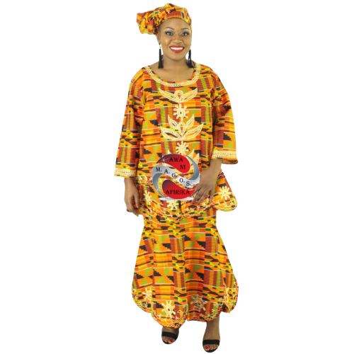 Women's African 3 Piece Embroidered Kente Skirt Set