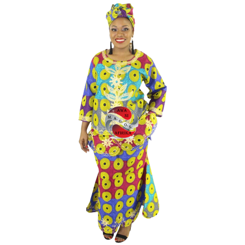 Women's African 3 Piece Embroidered Circle Print Skirt Set