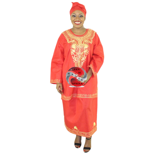 Women's African 3 Piece Skirt Set Red