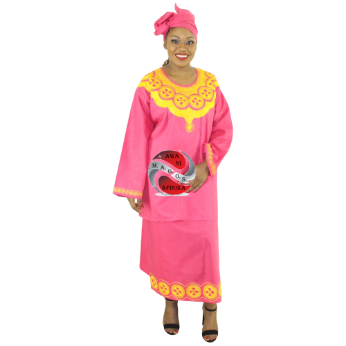 Women's African 3 Piece Skirt Set Pink