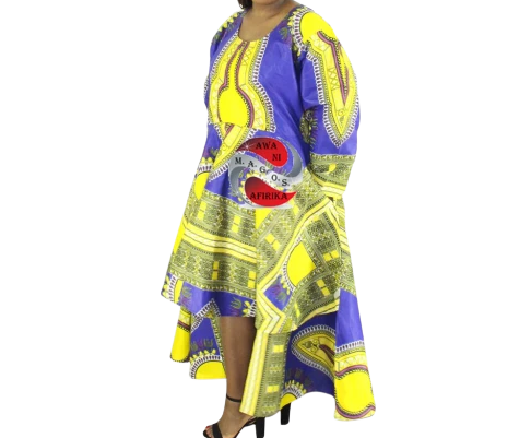 Women's African Dashiki Dress Blue/Yellow