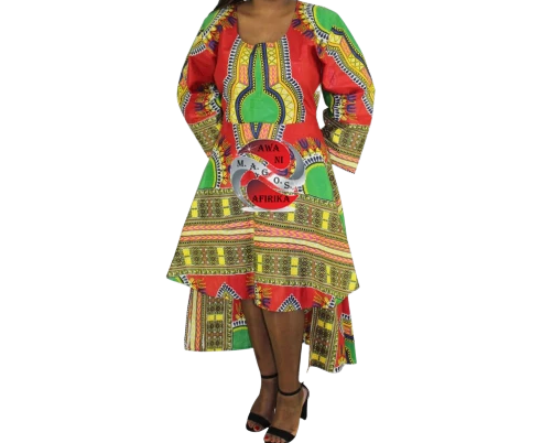 Women's African Dashiki Dress Red/Green