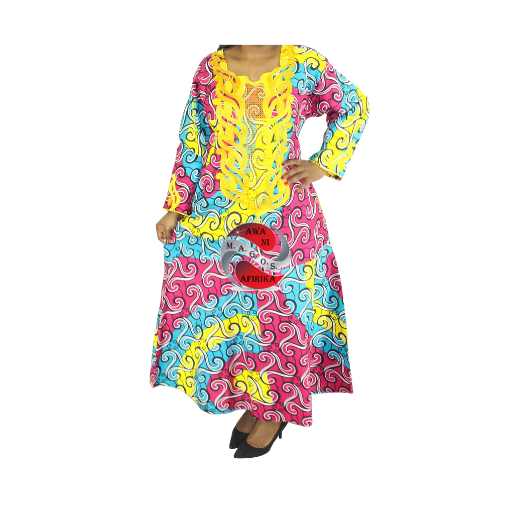 Women's Gold Embroidered Pink Turquoise Print Caftan Dashiki Dress