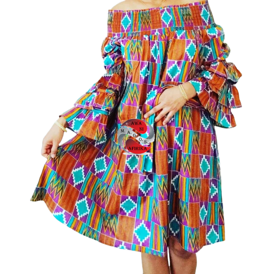 Classy African Print Layered Ruffles Brown Purple Kente Dress