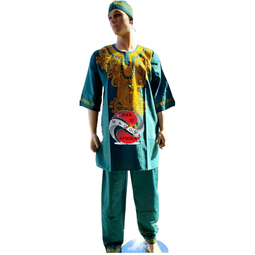 Men's 3pc Pant Set - Green Gold Embroidery