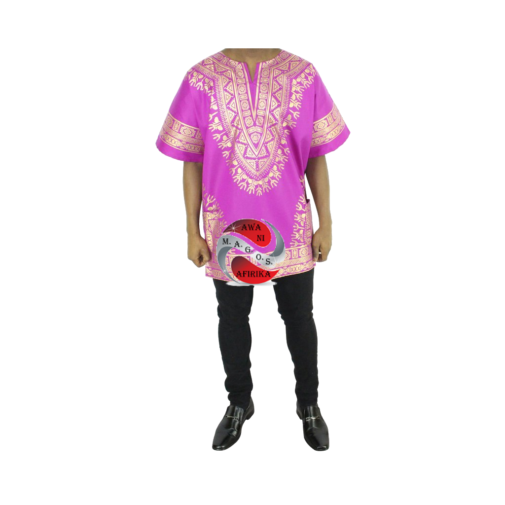 Men's Pink Screen Print Dashiki Short Sleeve Shirt