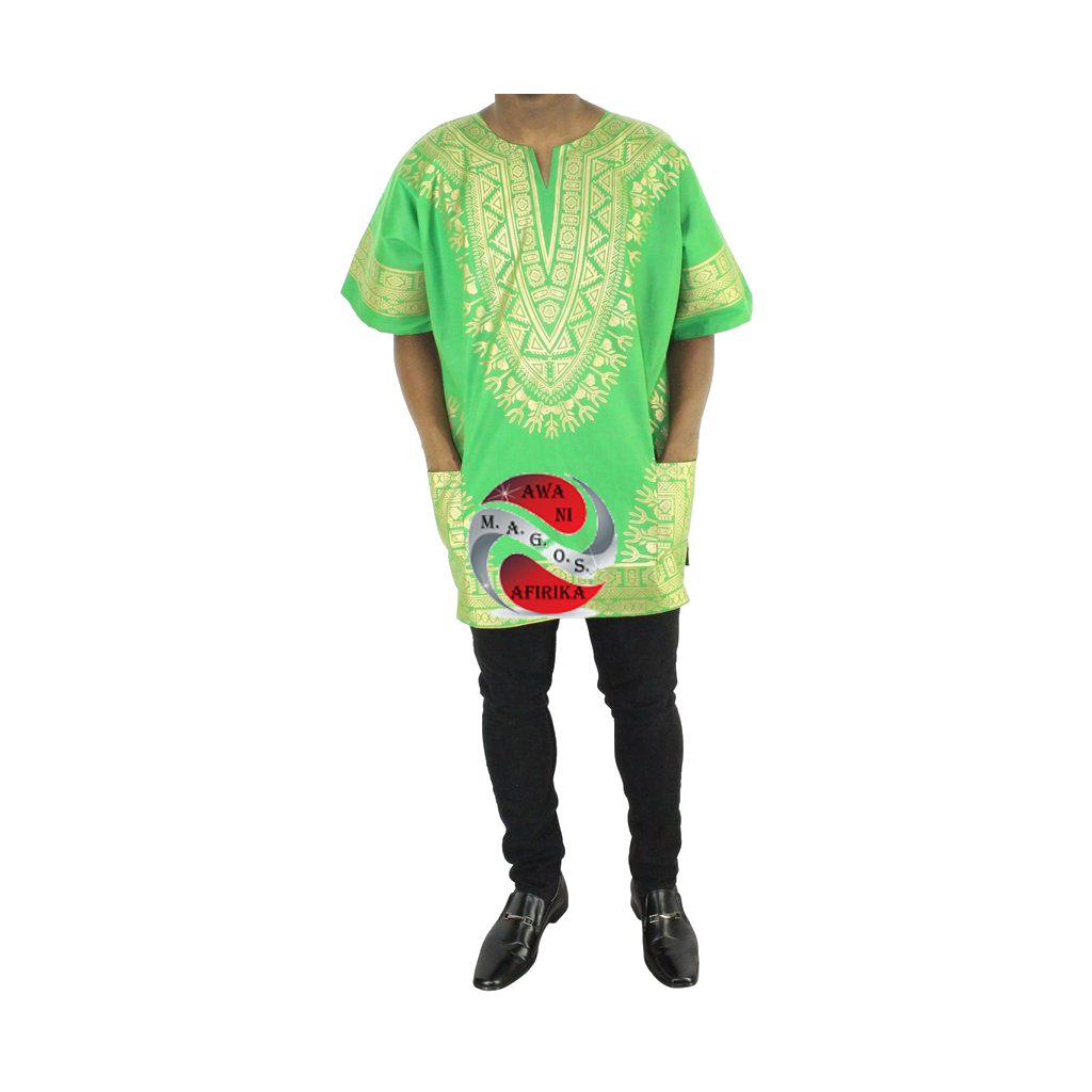 Men's Green Screen Print Dashiki Short Sleeve Shirt