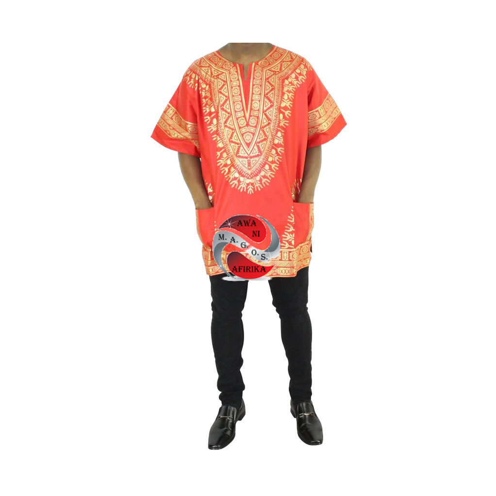 Men's Red Screen Print Dashiki Short Sleeve Shirt