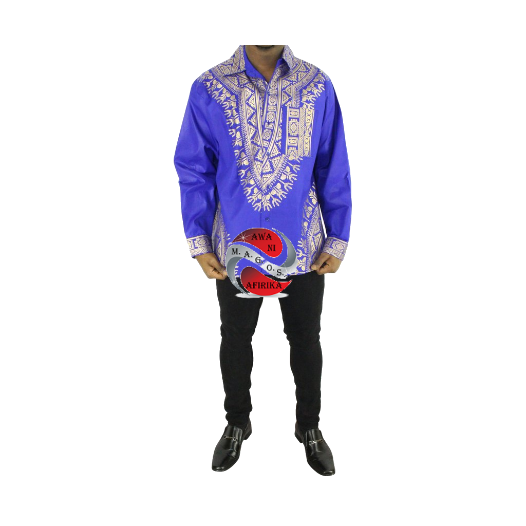 Men's Blue Screen Print Button Down Dashiki Long Sleeve Shirt