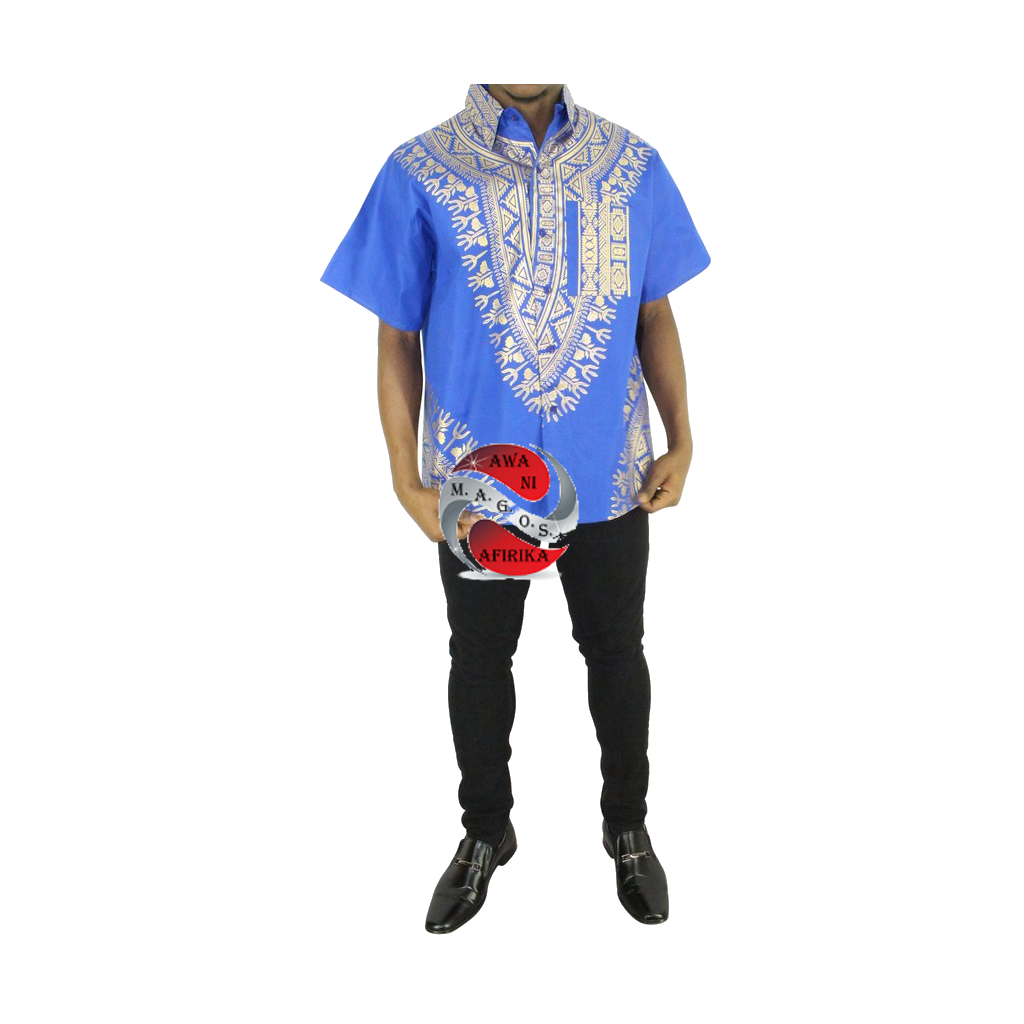 Men's Blue Screen Print Button Down Dashiki Short Sleeve Shirt