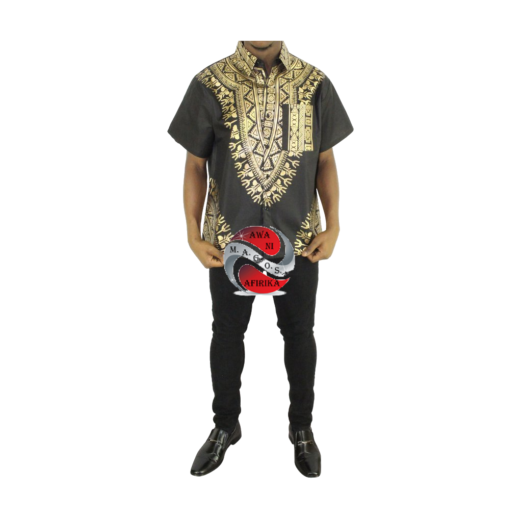 Men's Black Screen Print Button Down Dashiki Short Sleeve Shirt