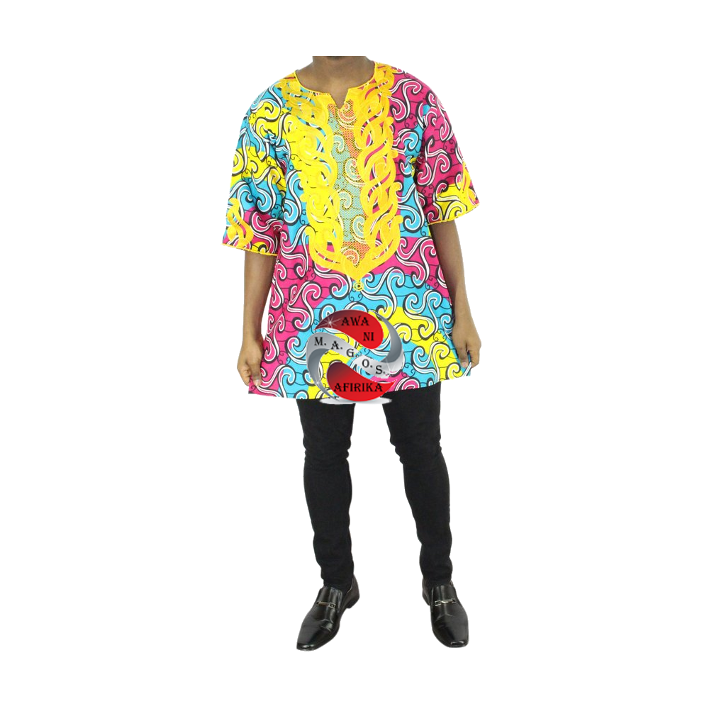 Men 2pc Gold Embroidered Pink Turquoise Dashiki Print Shirt Set