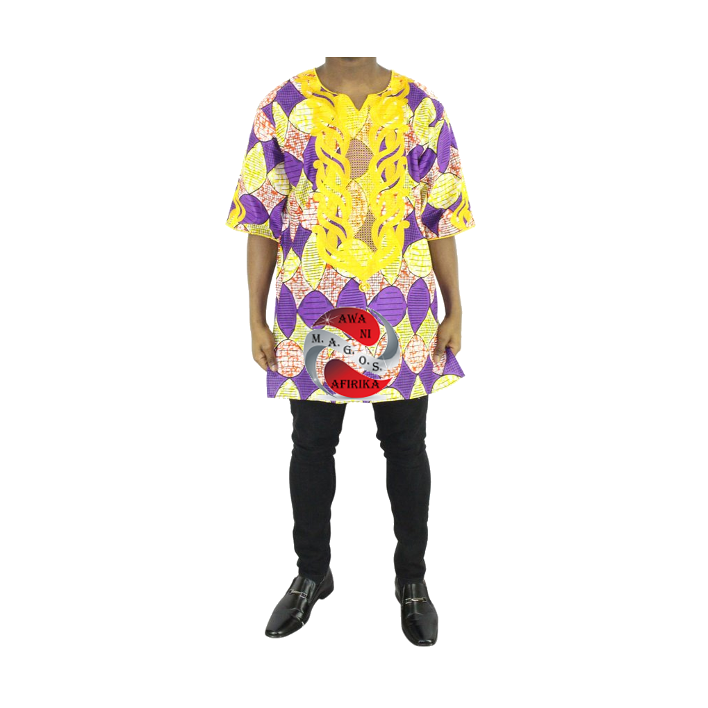 Men 2pc Gold Embroidered Lavender Print Dashiki Shirt Set