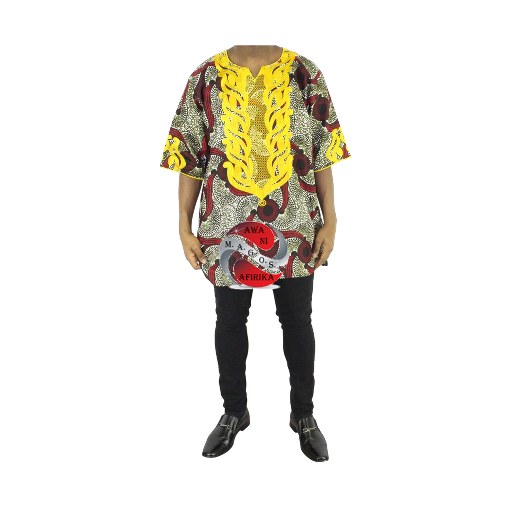 Men 2pc Gold Embroidered Burg Print Dashiki Shirt Set