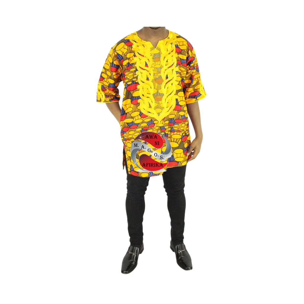 Men 2pc Gold Embroidered Circles Print Dashiki Shirt Set