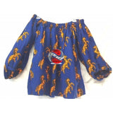 Royal Blue 3 pc African Ankara Batik Wax Print Long Sleeve Boat Neck Style Shirt