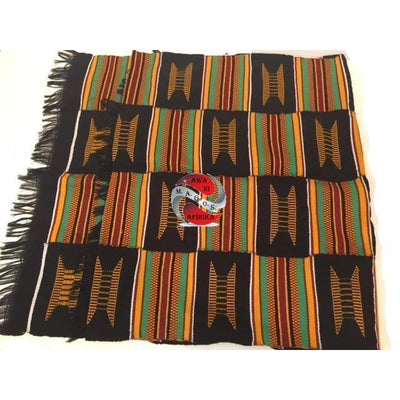 Black and Gold Multicolor Kente Cloth Scarf - M.A.G.O.S.