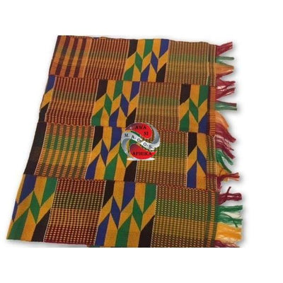 Orange Multicolor 100% Rayon Kente Cloth Scarf - M.A.G.O.S.