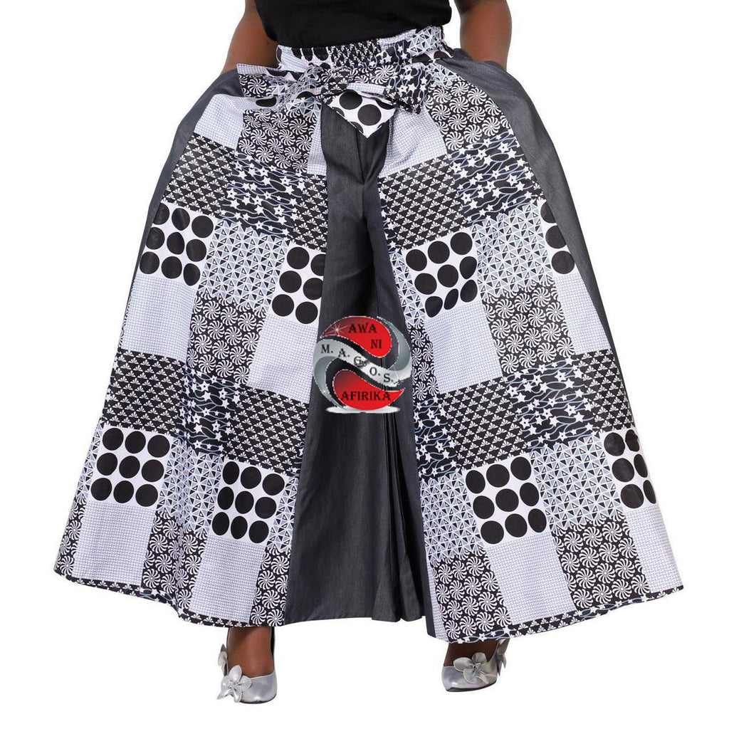 AFRICAN WAX CHECKERED PRINT PALAZZO WITH BOW TIE