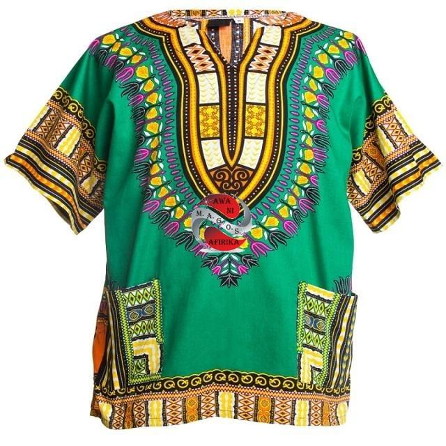 100% Cotton African Traditional Dashiki Shirt - Green-Yellow
