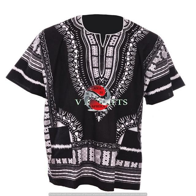 100% Cotton African Traditional Dashiki Shirt - Black-White