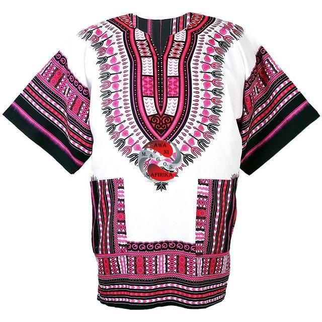 100% Cotton African Traditional Dashiki Shirt - Pink-White-Black