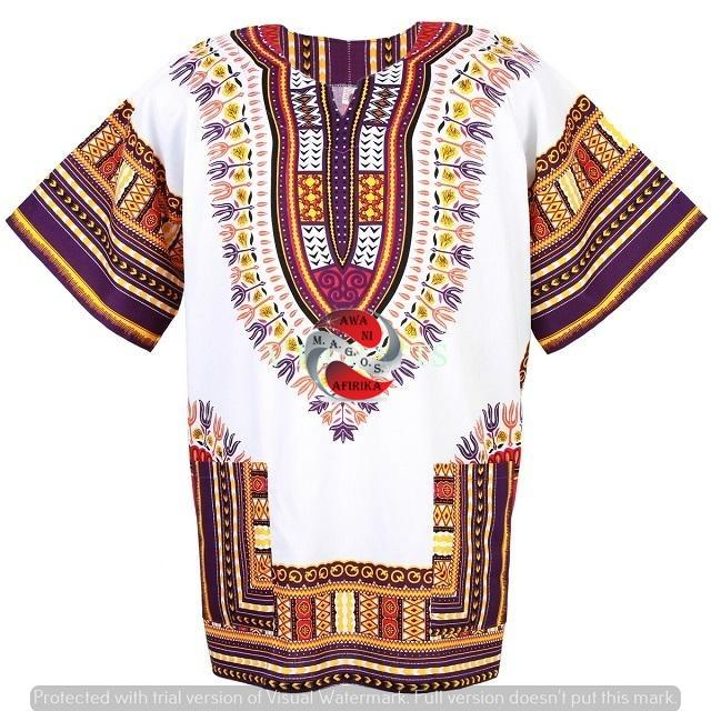 100% Cotton African Traditional Dashiki Shirt - White-Purple