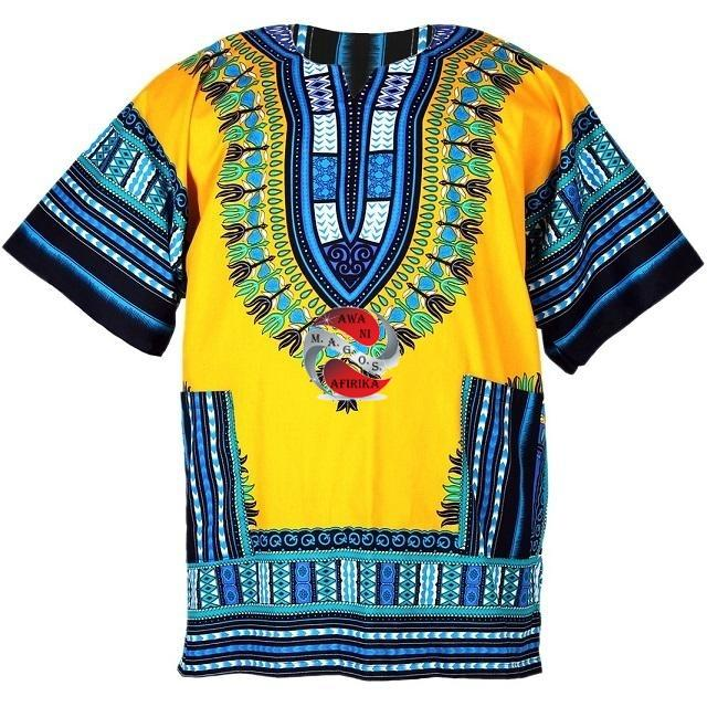 100% Cotton African Traditional Dashiki Shirt -Yellow-Blue